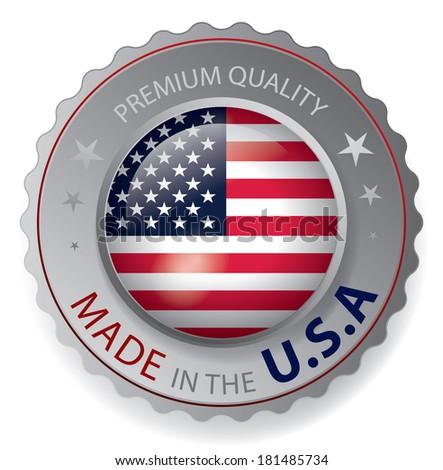 made in the USA, American Flag, seal (vector art) - stock vector