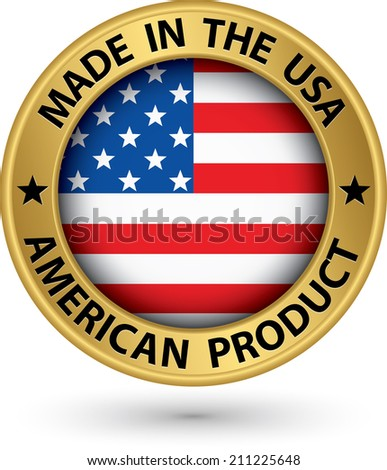 Made in the USA american product gold label with flag, vector illustration - stock vector