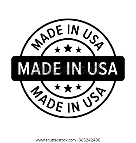 Made in the USA badge, label, seal, sign flat icon for goods and products - stock vector