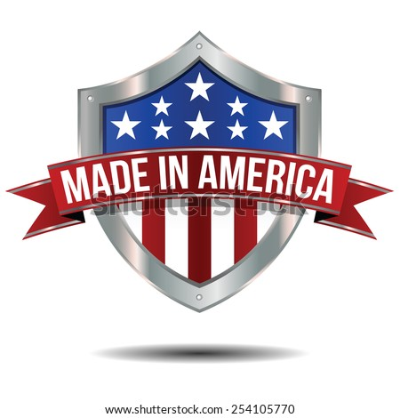 Made in the USA - Shield - stock vector