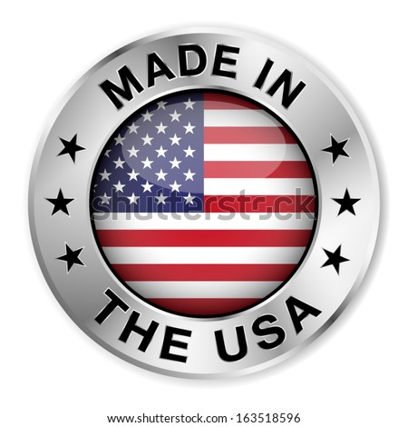 made usa silver badge icon central stock vector 163518596 shutterstock. Black Bedroom Furniture Sets. Home Design Ideas