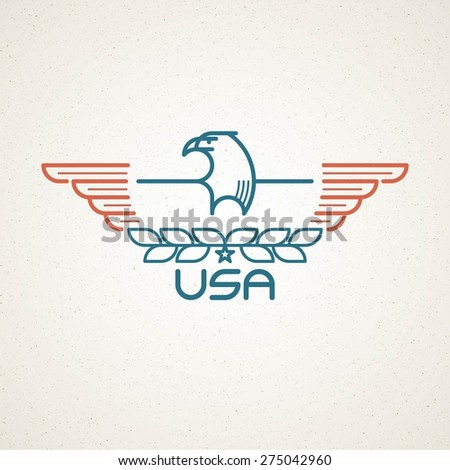 Made in the USA Symbol with American flag and eagle templates emblems. Vector illustration  - stock vector