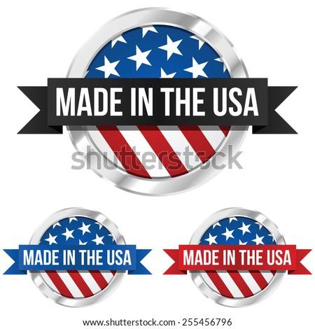 Made Usa Symbol Ribbon Stock Vector 255456796 Shutterstock