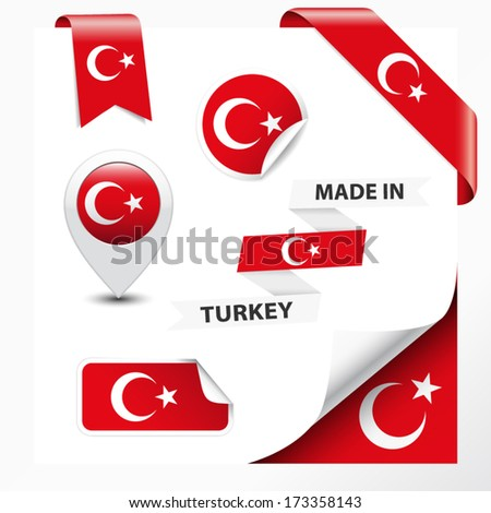 Made in Turkey collection of ribbon, label, stickers, pointer, badge, icon and page curl with Turkish flag symbol on design element. Vector EPS10 illustration isolated on white background.