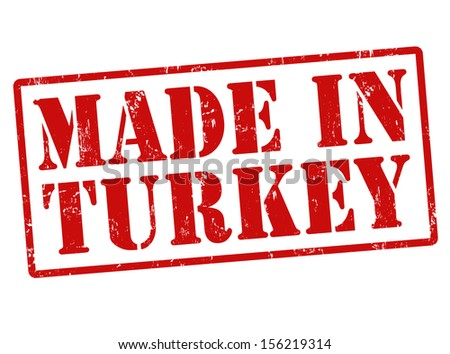 Made in Turkey grunge rubber stamp on white, vector illustration - stock vector