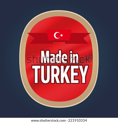 Made in Turkey Label, Red-Gold