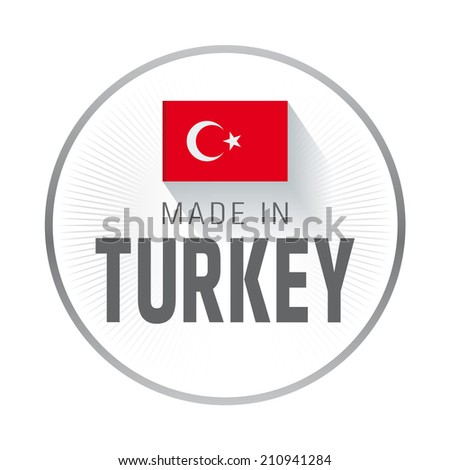 Made in Turkey Label, White - stock vector