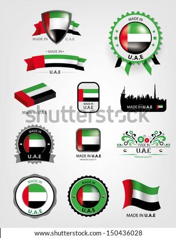 Made in U.A.E seals flags, Vector - stock vector