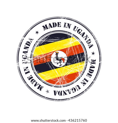 Made in Uganda grunge rubber stamp with flag - stock vector