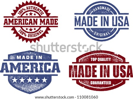 Made in USA America Original Stamps - stock vector