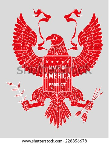 made in USA label with stars with removable grunge effect with American bold eagle - stock vector