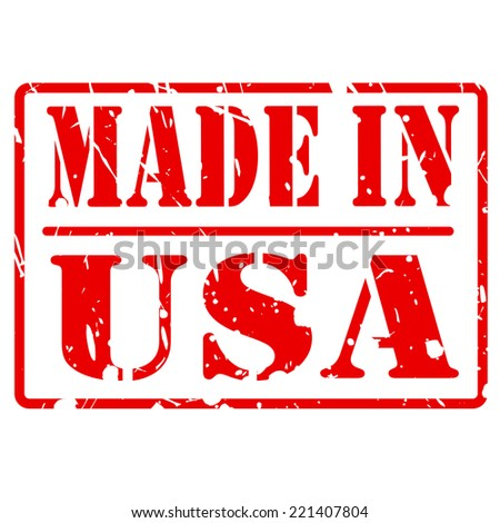 MADE IN USA red stamp text on white