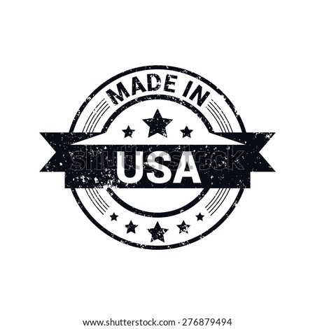 Made in USA . Round black grunge rubber stamp design isolated on white background. With vintage texture. - stock vector