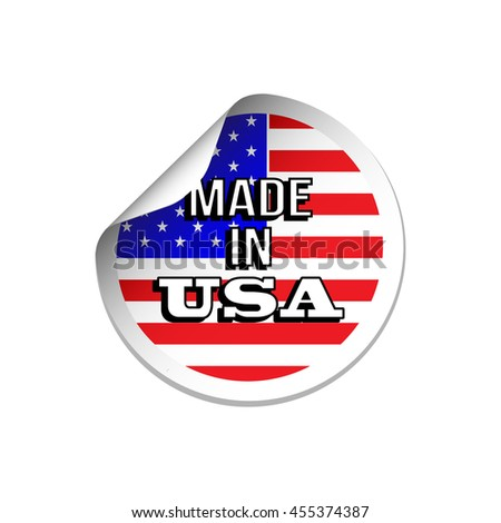 Made in USA stars and stripes flag sticker