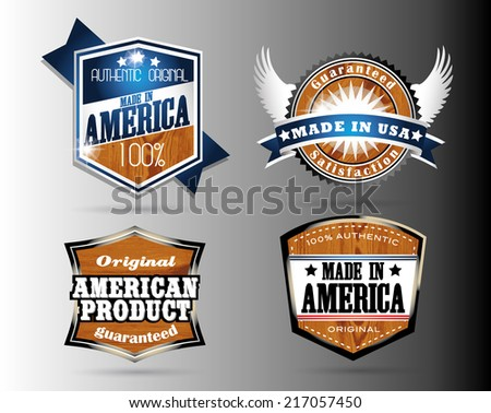 made in usa vintage retro labels in wooden style - stock vector