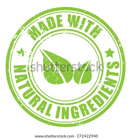 Made with Natural ingredients 100 percent organic product rubber stamp icon isolated on white background - stock vector
