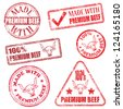 Made with premium beef. Rubber stamp vector illustrations - stock photo