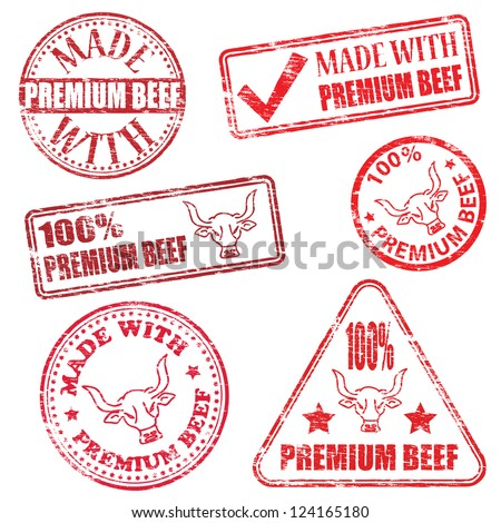 Made with premium beef. Rubber stamp vector illustrations - stock vector