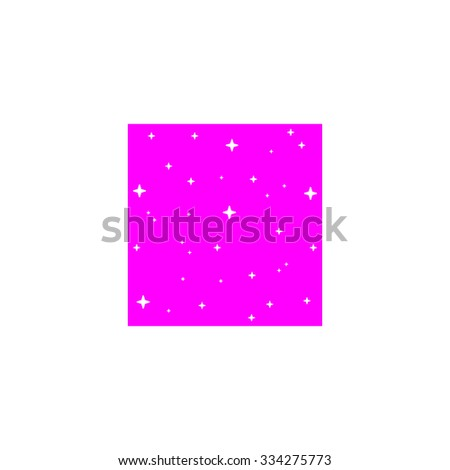 Made with stars in square. Pink flat icon. Simple vector illustration pictogram on white background