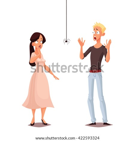 Madly frightened man and woman vector cartoon comic illustration isolate, boy and girl afraid of a spider, arachnophobia, people are very afraid of spider and panic, manifestation of the phobia - stock vector