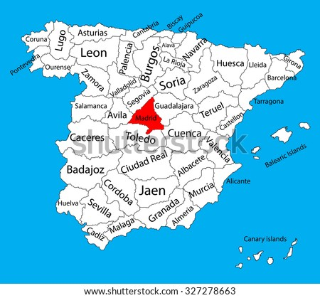 Madrid map, Spain province vector map. High detailed vector map of Spain with separated regions isolated on background. Spain autonomy areas map. Editable vector map of Spain.