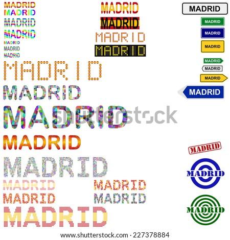 Madrid text design set - stock vector