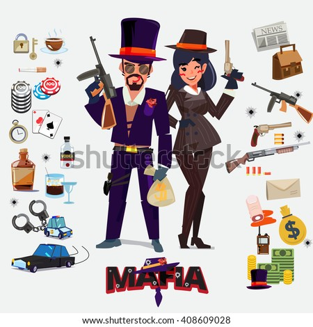 Mafia character design, male and female with icon set. underground gangster concept - vector illustration - stock vector