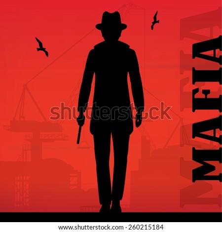mafia gangster  murderer man with gun - stock vector