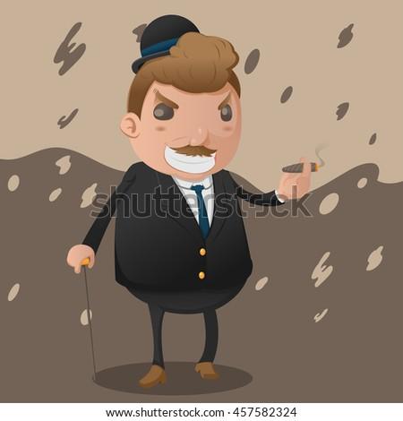 Mafia Man Character Mascot Godfather Vector - stock vector