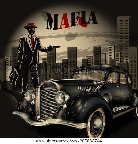mafia or gangster background - stock vector