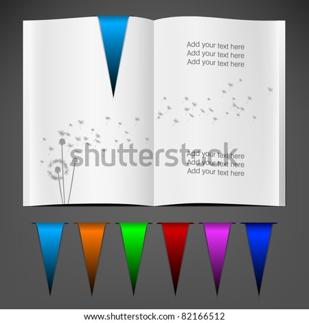 Magazine blank page template for design layout (with bookmarks) - stock vector