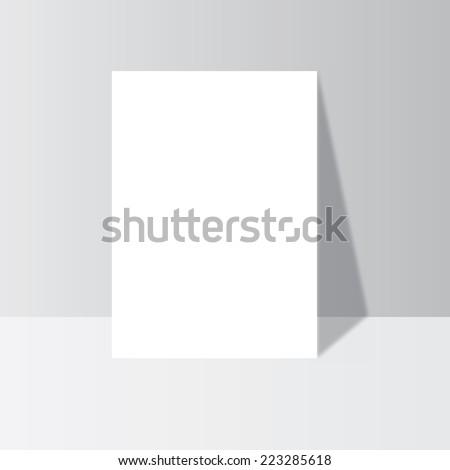 Magazine, brochure, book,  flyer, a4 letterhead, folder, leaflet. Blank stationary near the wall with shadow - stock vector