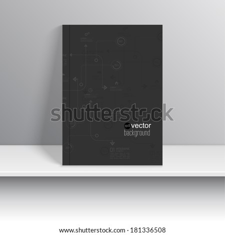 Magazine cover standing on a shelf with gray shadows. - stock vector