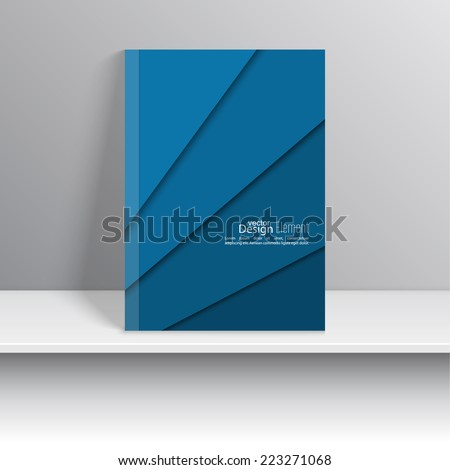 Magazine Cover with blue colored strips of paper. For book, brochure, flyer, poster, booklet, leaflet, cd cover design, postcard, business card, annual report. vector illustration. abstract background - stock vector