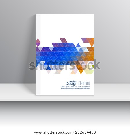 Magazine Cover with line, triangles. For book, brochure, flyer, poster, booklet, leaflet, cd cover design, postcard, business card, annual report. vector illustration. abstract background - stock vector
