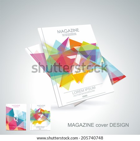 Magazine cover with pattern of geometric shapes, texture with flow of spectrum effect.  - stock vector