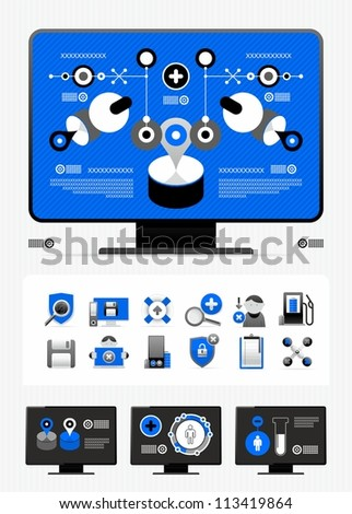 magazine infographics and icons - stock vector