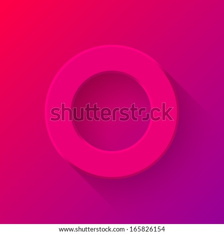 Magenta abstract technology volume knob, blank round button template with flat designed shadow and gradient background for web sites, user interfaces (UI) and applications (apps). Vector illustration. - stock vector