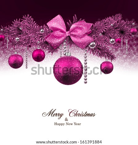 Magenta christmas background with fir twigs and balls. Vector illustration. - stock vector