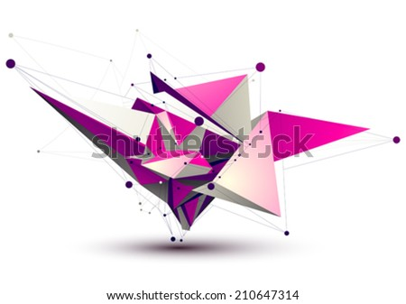 Magenta contemporary eps8 technology construction, abstract dimensional figure with lines mesh. Spatial object. - stock vector