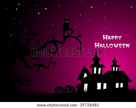 magenta halloween background with spooky house, dead tree