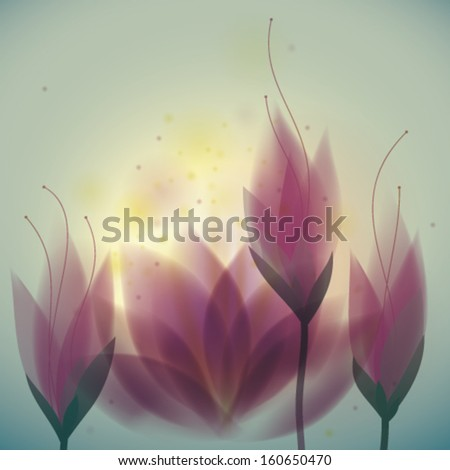 Magenta water lilies / Floral square card - stock vector