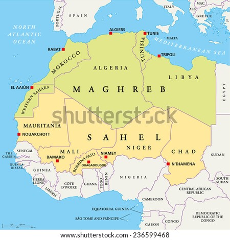 Maghreb and Sahel Political Map with capitals and national borders. English labeling and scaling. - stock vector