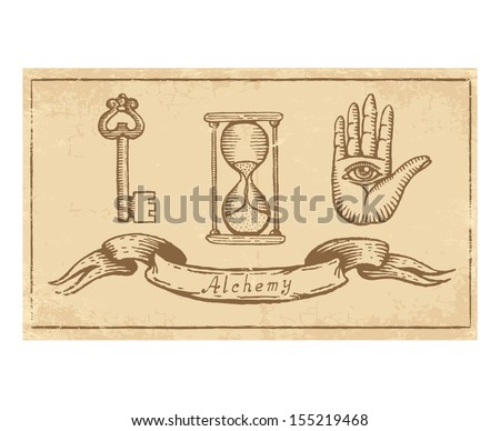 Magic alchemical Symbols in old yellow paper - stock vector
