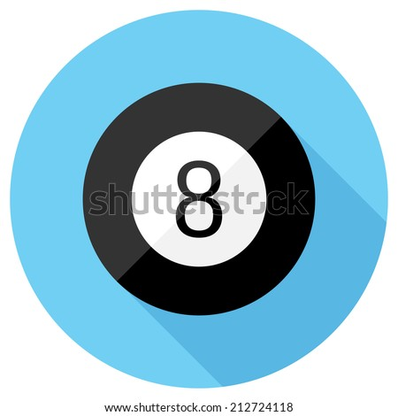 Magic 8 ball icon. Flat design style modern vector illustration. Isolated on stylish color background. Flat long shadow icon. Elements in flat design. - stock vector