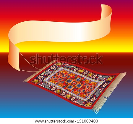 Magic carpet (flying carpet) with a banner that can be labeled. Ocean shore sunset in the background. Isolated vector.