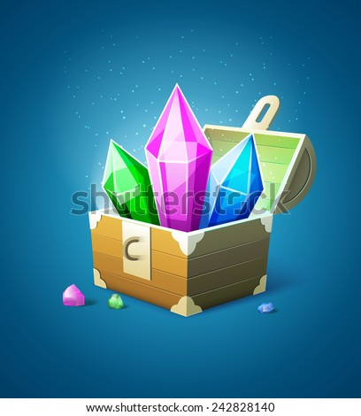 Magic chest trunk with precious stone crystals. Eps10 vector illustration - stock vector
