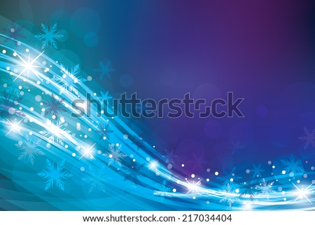 Magic Christmas background in blue colors. - stock vector