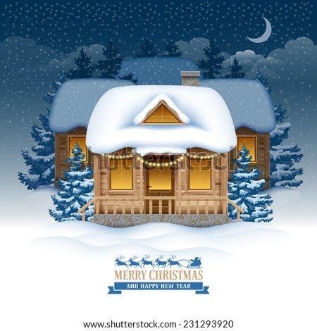 Magic Christmas night in the village. Vector image. - stock vector