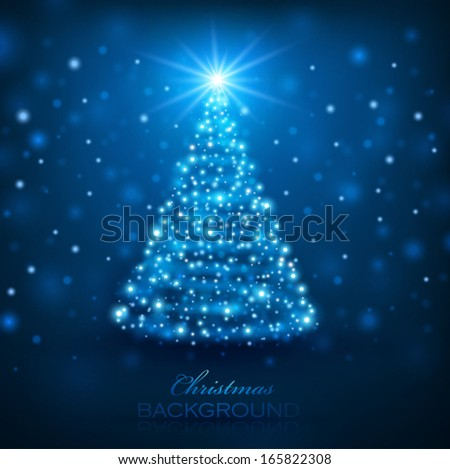 Magic Christmas Tree. Christmas background - stock vector